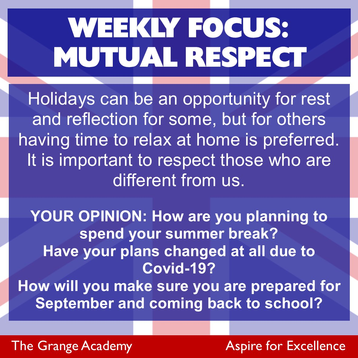 Our 'Modern British Values' focus this week is Mutual Respect as we consider the importance of holidays and why people need a break. What are your views? #mutualrespect #holidays #takeabreak pic.twitter.com/DvhVEDcBit