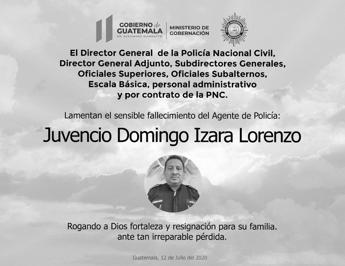 test Twitter Media - La @PNCdeGuatemala lamenta el fallecimiento del agente Juvencio Domingo Izara Lorenzo. Murió por COVID-19. https://t.co/uVTECw8DKA