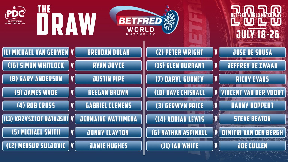 """PDC Darts on Twitter: """"WORLD MATCHPLAY DRAW! The draw in full for ..."""