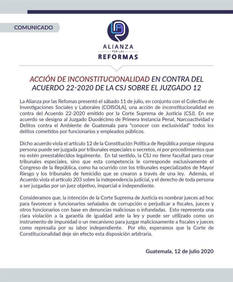 """test Twitter Media - Alianza por las Reformas presentó una acción de inconstitucionalidad en la @CC_Guatemala en contra del acuerdo 22-2020 de la CSJ, sobre el juzgado """"exclusivo"""" para casos de funcionarios y empleados públicos. https://t.co/IWIoJARkDC"""