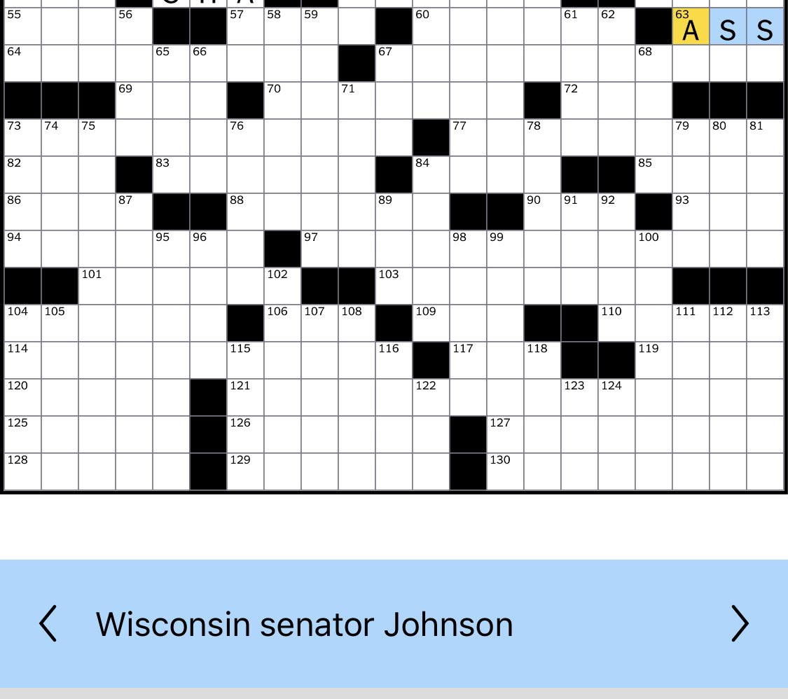 Sneaky clue by @nytimes crossword, but being from @SenRonJohnson's state, I knew the answer. Now onto the rest of the puzzle. https://t.co/wRuNxAjSk1