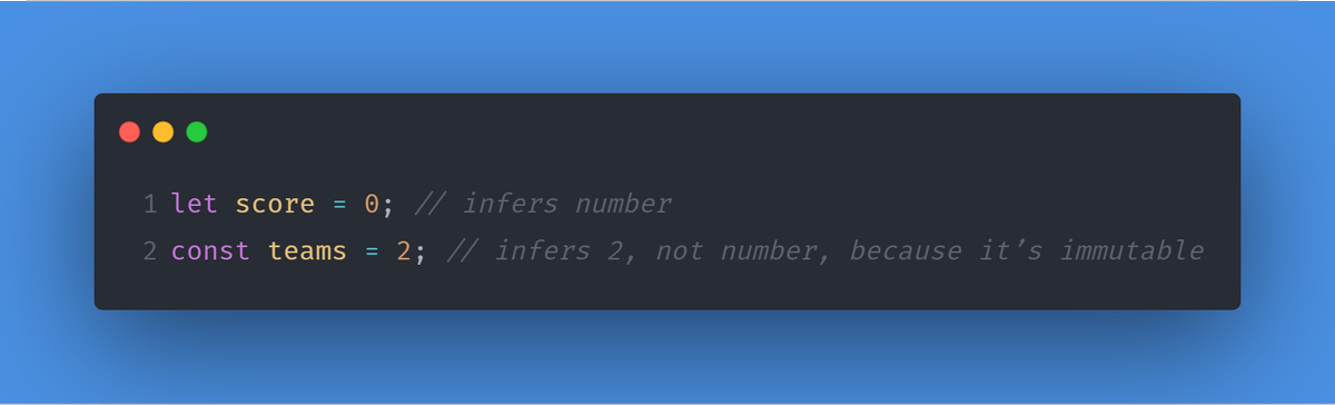 #TypeScript will infer variable types when initial values are assigned.  For example:    #JavaScript #100DaysOfCode #CodeNewbiepic.twitter.com/Q45rC1G4vI