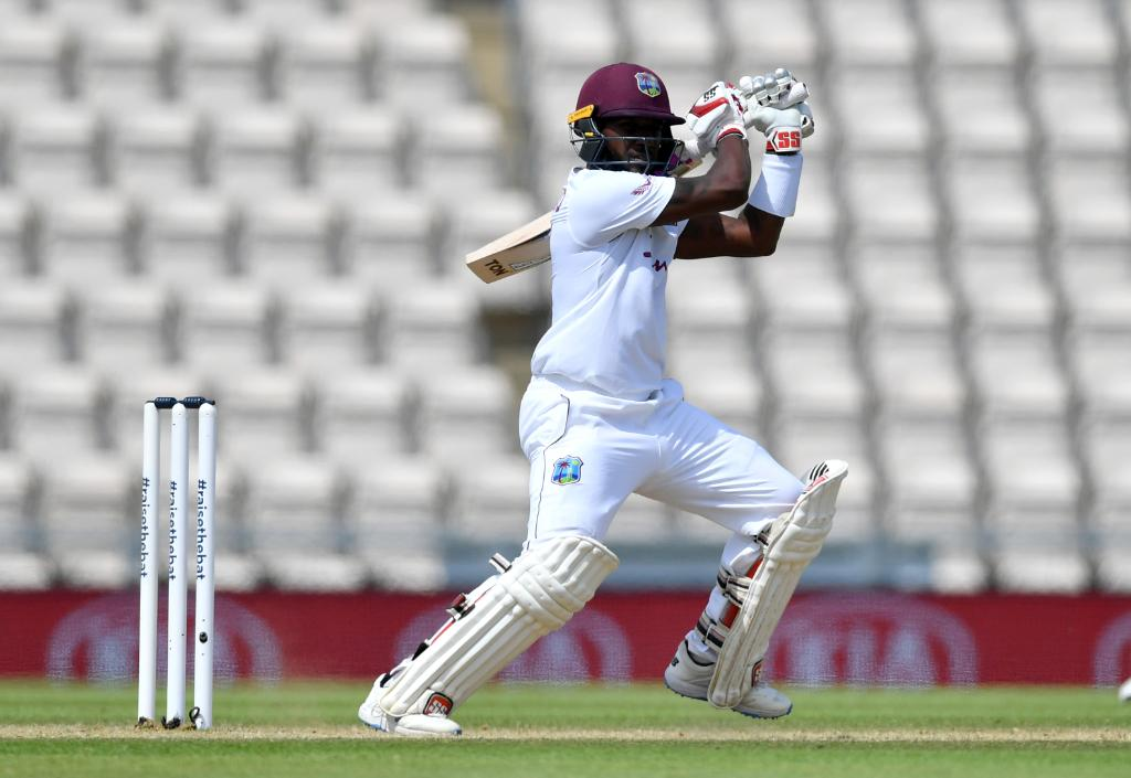 Jermaine Blackwood took the visitors West Indies home in a nail-biting finish after being 27/3 at one stage. (Credits: Twitter/ ICC)