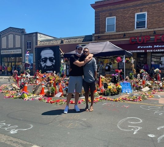 I can't express the emotions that ran through me while visiting this site. Love, hate, hope... I'm glad I was able to visit it with one of best dudes Walt. I appreciate you showing me around the city. Love always wins. #GeorgeFloydMemorial https://t.co/rNkxIdWykz