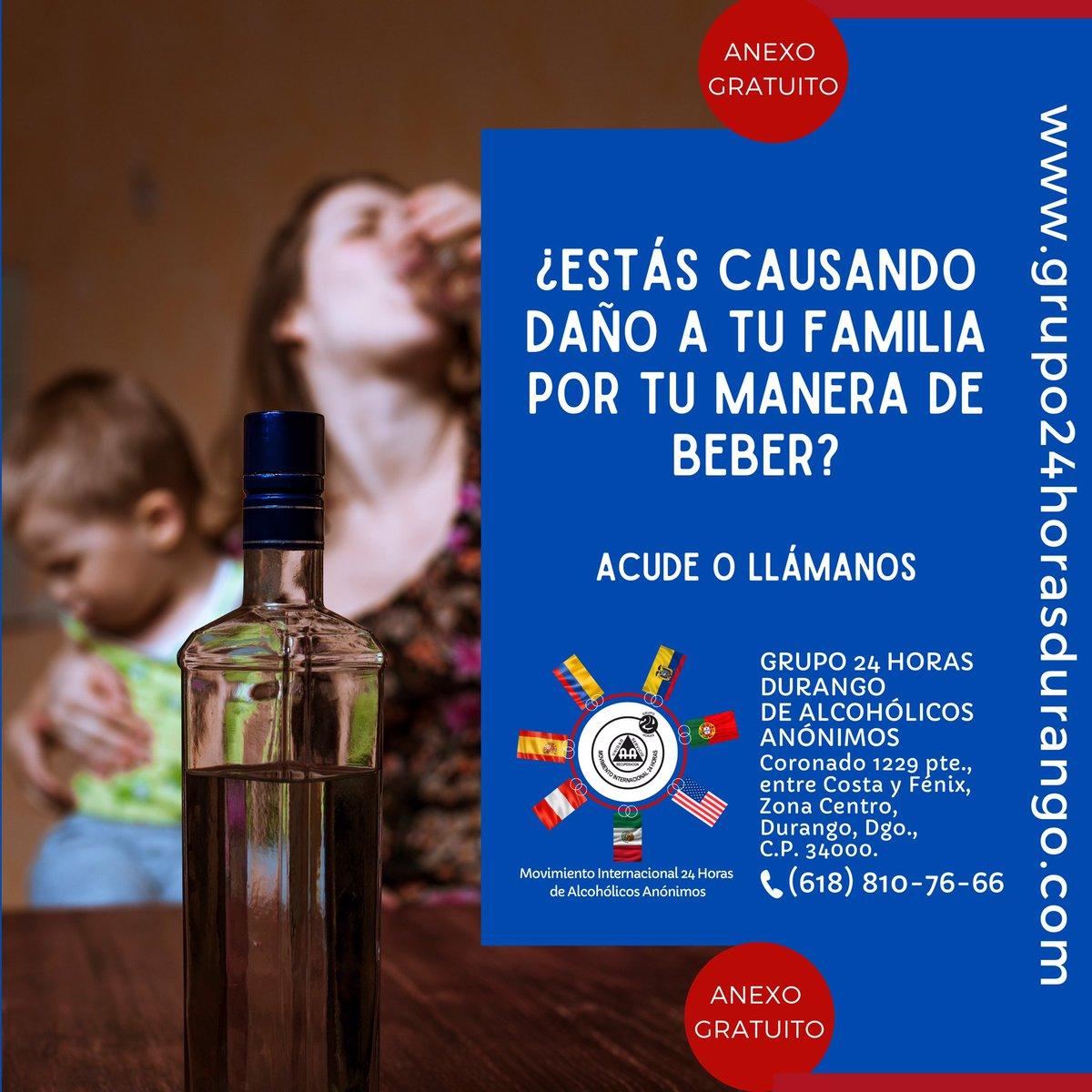 Atendemos problemas de alcoholismo y/o drogadicción.  ANEXO GRATUITO. Grupo 24 Horas Durango de Alcohólicos Anónimos,  Coronado 1229 pte., entre Costa y Fénix, Zona Centro,  Durango, Dgo. Tel: (618)810-76-66  http://grupo24horasdurango.compic.twitter.com/LgyurNLA8n