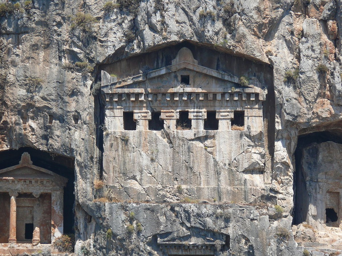Hellenistic rock tombs from #Kaunos, Turkey (4th – 2nd century BC). <br>http://pic.twitter.com/XZW59hqDYl