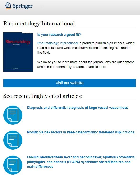 Recent, highly cited articles in #rheumatology #international #RHEI: 1. DD in LVV   https://link.springer.com/article/10.1007/s00296-018-4157-3… 2. Risk factors in KOA   https://link.springer.com/article/10.1007%2Fs00296-019-04290-z… 3. FMF & PFAPA  https://link.springer.com/article/10.1007%2Fs00296-018-4105-2… pic.twitter.com/suPyy3vrls
