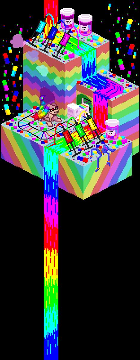 Isometric island commission for @ghosticore of @cuteneuters character L33t! #isometric #pixelart #rainbow #neon #lsd