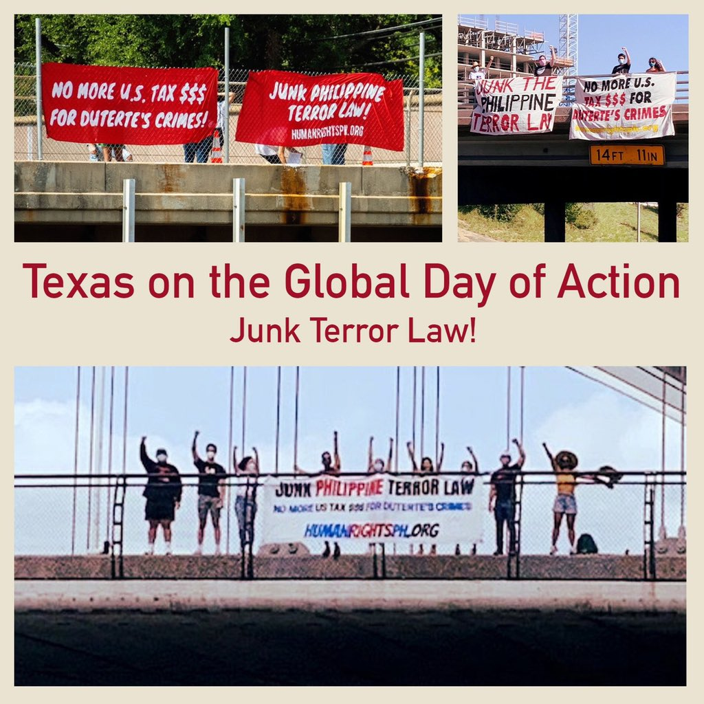 LOOK: Filipinos and allies held banner drops along major Texas roads in Dallas, Houston, and Austin on the Global Day of Action against the Philippine Terror Law. #JunkTerrorLaw #OustDuterte   : Malaya Movement Texas pic.twitter.com/Vl0Cja0mnO