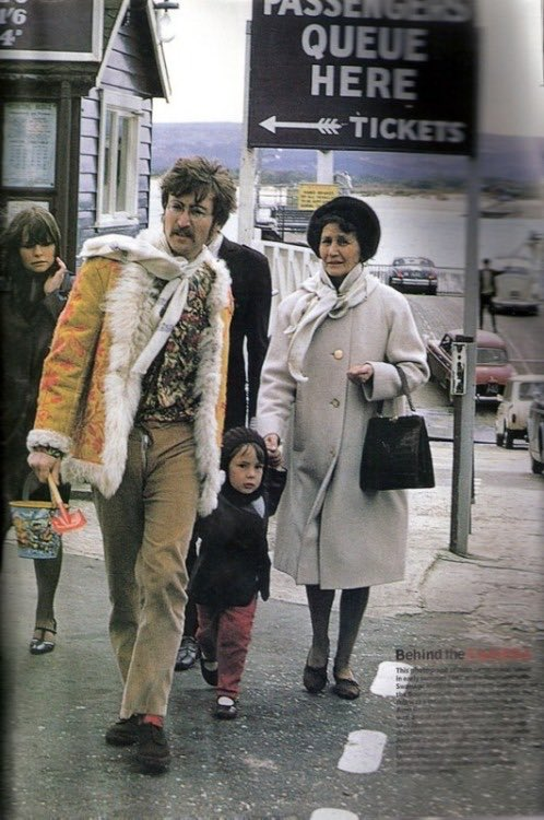 John Lennon with Julian and Aunt Mimi, 1967.