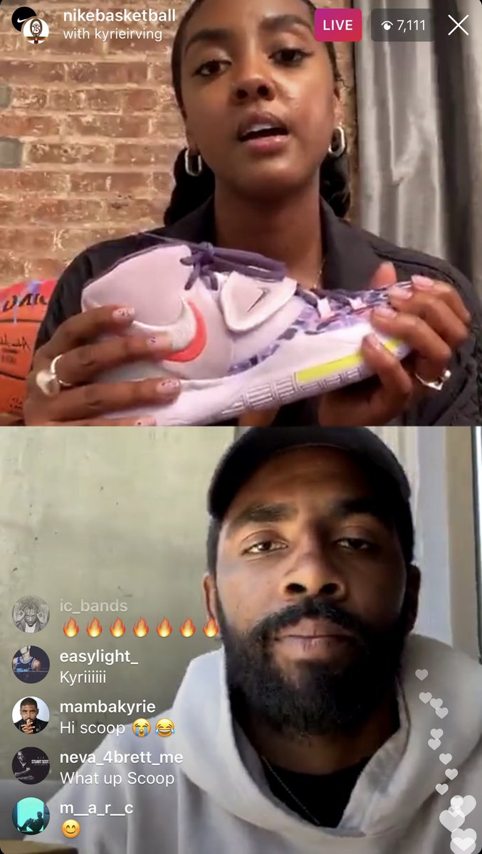 """Asia Irving, Kyrie Irving's sister said she picked a purple color way for KyrieIrving's shoe because purple """"stands for royalty."""" https://t.co/16mWnt0wHG https://t.co/0WXI7mooht"""