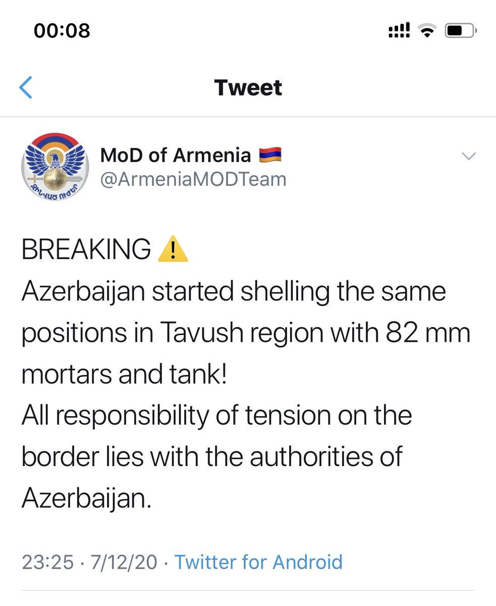 12:30-group of #Azerbaijan'i soldiers tried to cross #Armenia|n border w/ UAZ 13:45-servicemen of Azeri Armed Forces repeated attempt to occupy Arm border position,using artillery fire 23:25-Azerbaijan started shelling the same positions in Tavush region with 82 mm mortars&tankpic.twitter.com/eezyXOlSJF