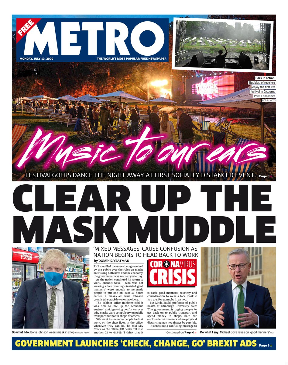 Monday's front page: CLEAR UP THE MASK MUDDLE tomorrowspaperstoday #BBCPapers #skypapers https://t.co/j3k7wlvE49