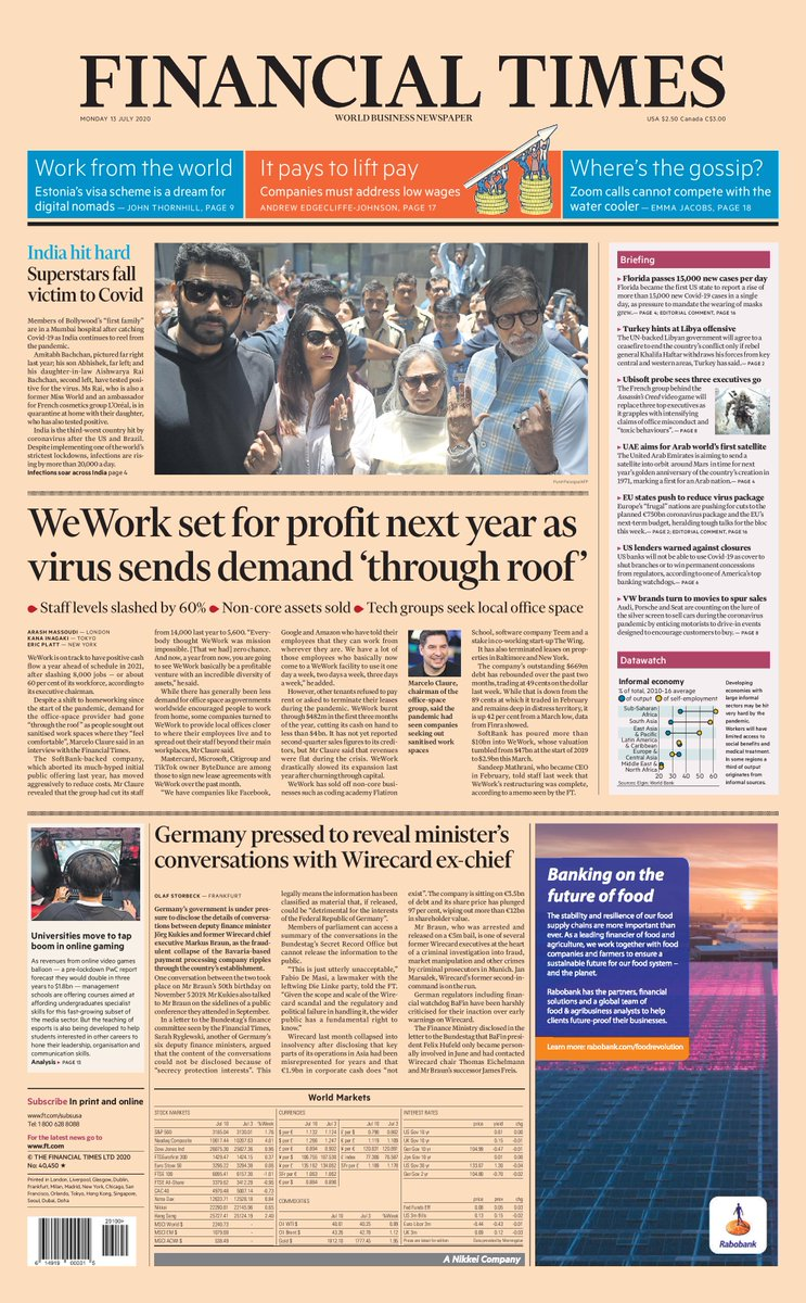Just published: front page of the Financial Times international edition, Monday July 13 https://t.co/TBZcEPQaRC https://t.co/Zo0hFKbDqR