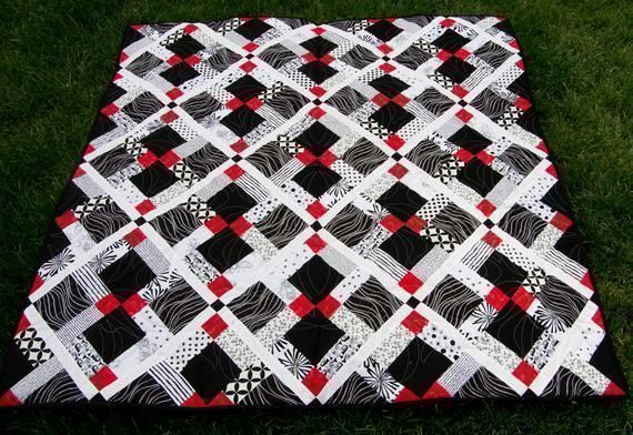 #Aeseome #Red #Black and #White Disappearing 9-Patch, Great #Birthday, #Wedding #Graduation #Anniversary #Giftsforher #Giftsforhim #Giftsforteens #Handmade #Minky #Quilt