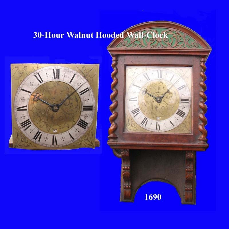 Excited to share the latest addition to my #etsy shop: King William III Walnut 30-Hour Hooded Wall Clock 1690  #white #anniversary #women #artdeco #analog #mechanical #braceletwatch #military #vintagewatch