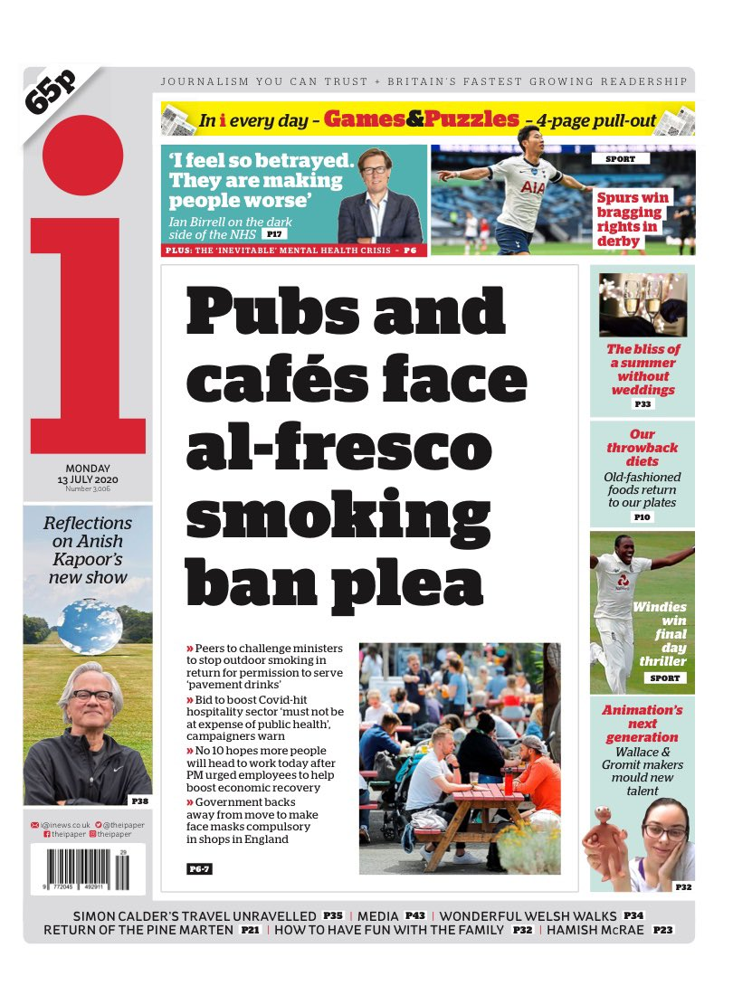 I: Pubs and cafés face al-fresco smoking ban plea #TomorrowsPapersToday https://t.co/wtY3loTM0d