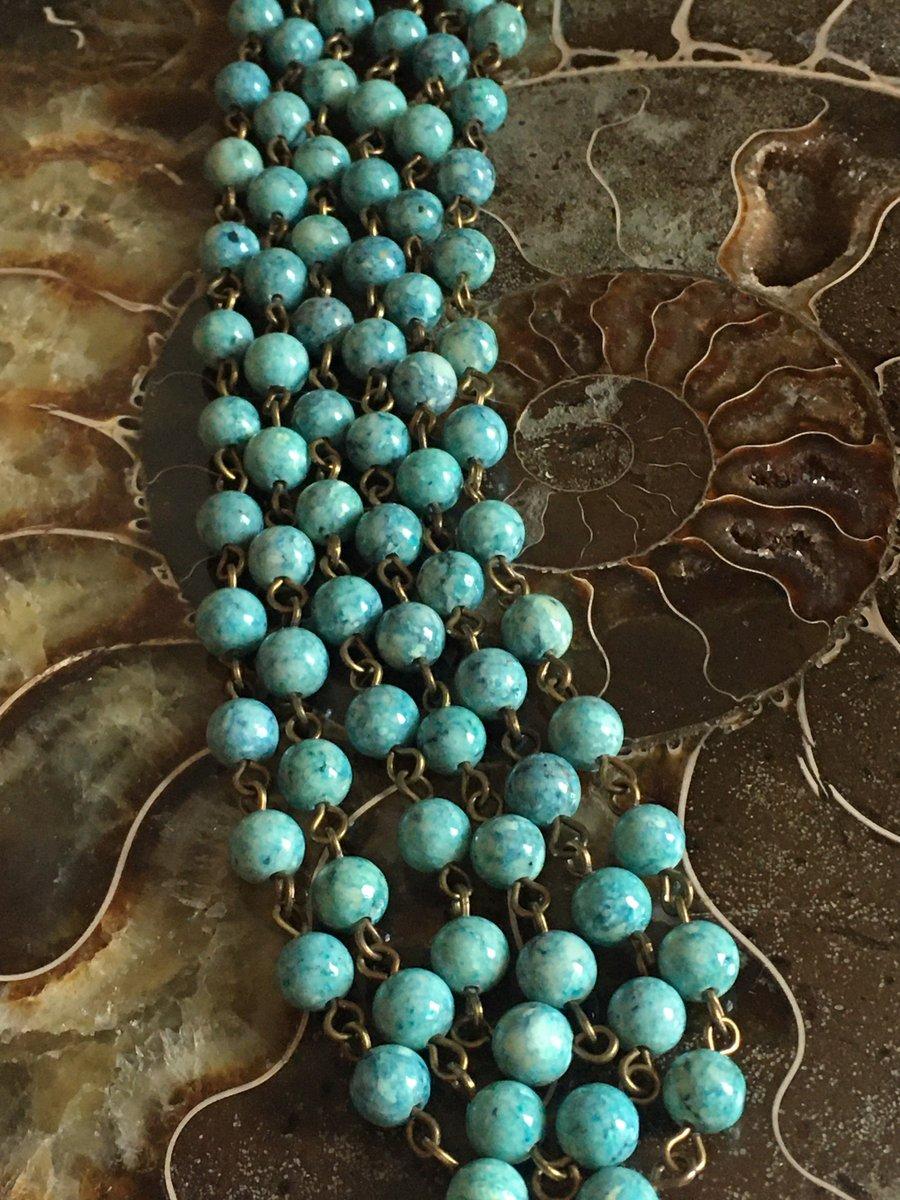 Boho Chic necklace bracelet set, stone necklace, blue green beads, brass chain, multi strand, cottage chic, trending, dainty, statement, oak http://tuppu.net/6458abcd #Handmadejewelry #Bohochic #Statementjewelry #Bridaljewelry #Stonenecklace #StoneNecklacepic.twitter.com/Z6BvfnqCB6