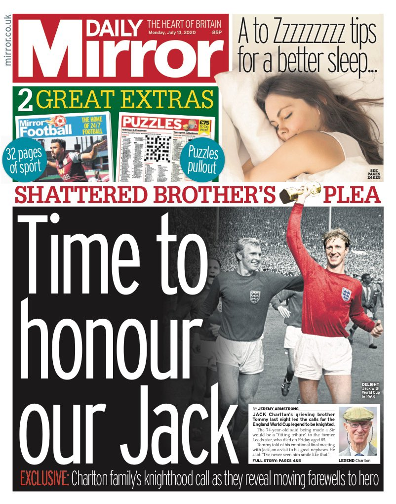 MIRROR: Time to honour our Jack #TomorrowsPapersToday https://t.co/gBsF1fZS53