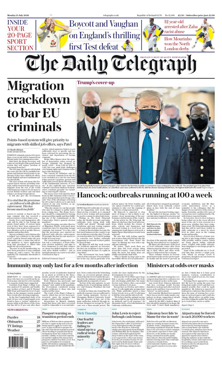 TELEGRAPH: Migration crackdown to bar EU criminals #TomorrowsPapersToday https://t.co/8MoJFU9501