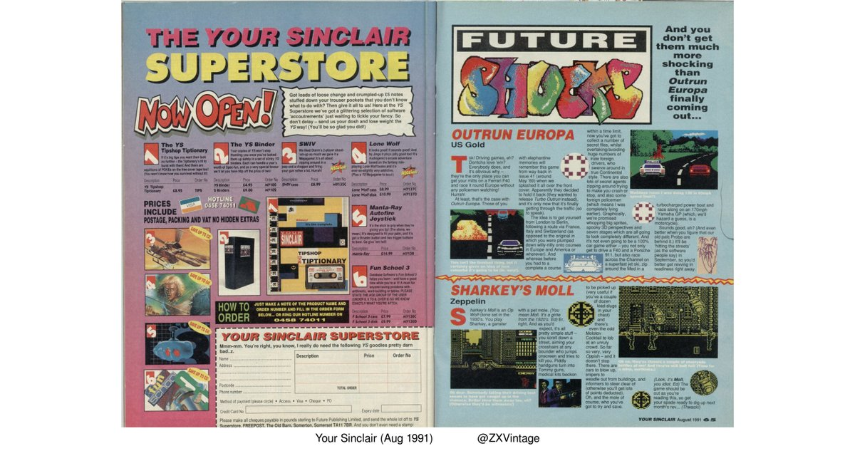 Your Sinclair (Aug 1991) - Out Run Europa and Sharkeys Moll previews #zxspectrum #retrogaming  READ: https://archive.org/stream/YourSinclair37Jan89/YourSinclair/YourSinclair68-Aug91#page/n64/mode/2up…pic.twitter.com/n7oPHhiYzW