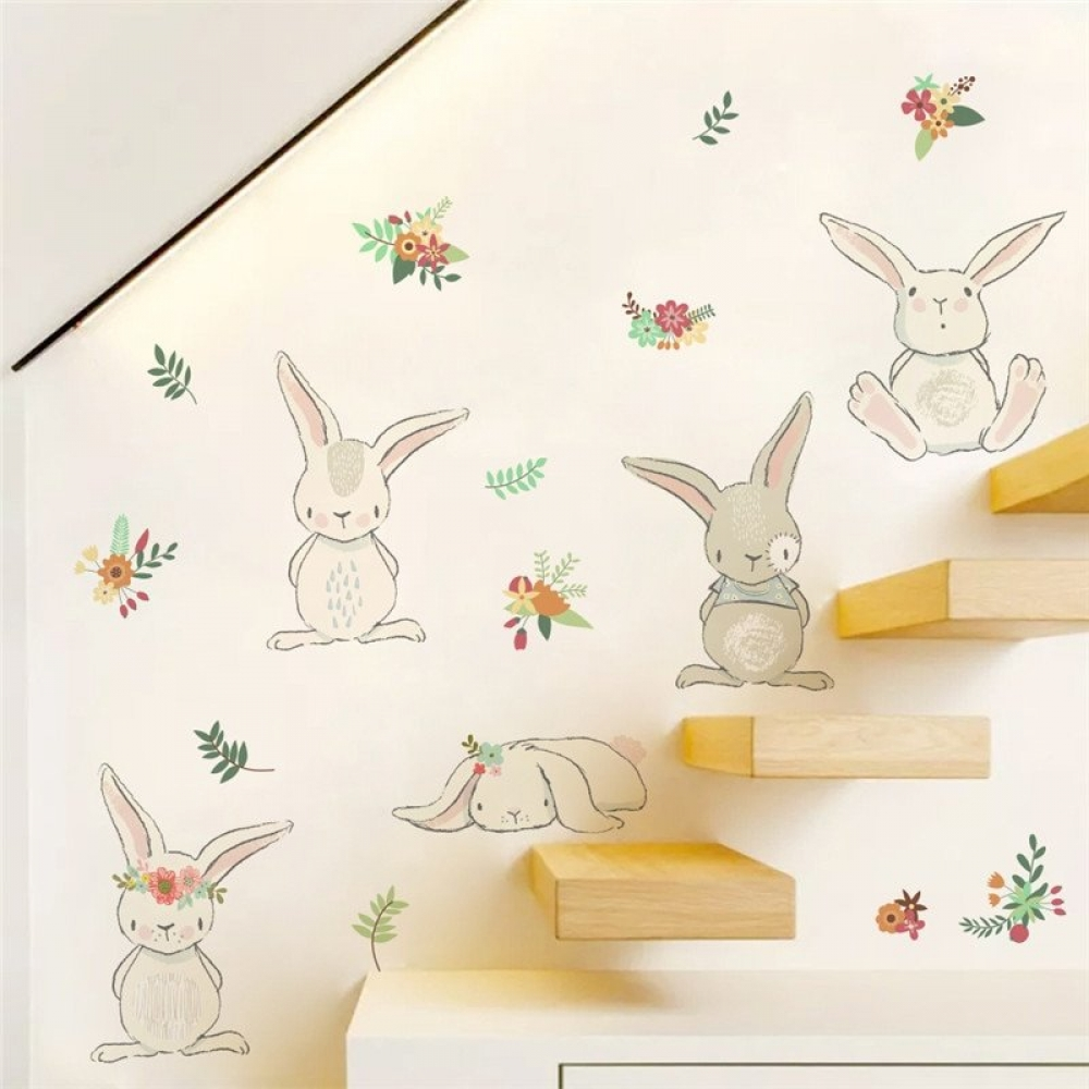 #pretty #drawing Cartoon Rabbits with Flowers Wall Sticker