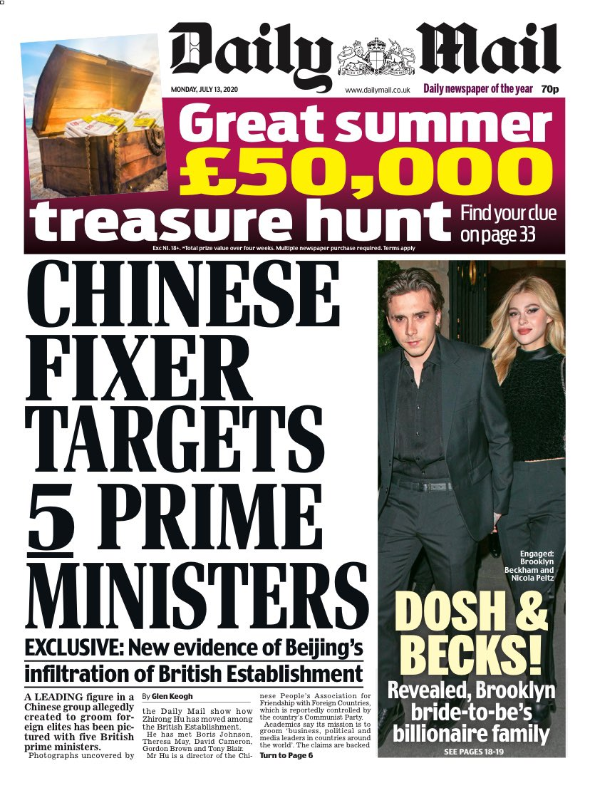 MAIL: Chinese fixer targets 5 Prime Ministers #TomorrowsPapersToday https://t.co/mV71RnhnDY
