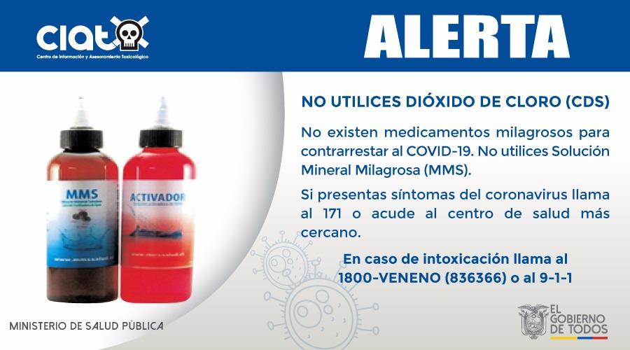 ⚠️Junto con @Arcsa_Ec, 🚨alertamos que los productos que contienen clorito de sodio (Solución Mineral Milagrosa) o dióxido de cloro (CDS), NO son medicamentos para curar el #COVID19 y no cuentan con autorización sanitaria.  + Info en https://t.co/DlG1Tr7IFY  #NosCuidamosTodos https://t.co/STc83RYnpB