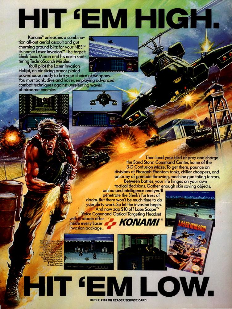 Game: Laser Invasion Media: Magazine advert Year: 1991 Platform: NES  Buy this historic game at: https://ebay.to/31V7NH8  #retrogames #retrogaming #retro #GamersUnite #retrogamer #Nintendo #NES #Konamipic.twitter.com/bTBscnHKQq