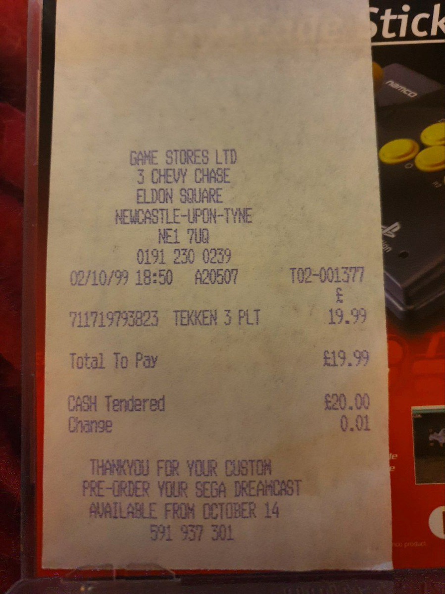 Game Stores Ltd of Newcastle would like to remind you to preorder your Dreamcast and that it's available from October 14th. Love finding old receipts like these left in games and kept in place by sellers. #retrogaming #PS1 #psx #PS1Nibblespic.twitter.com/T4fCLefwbj