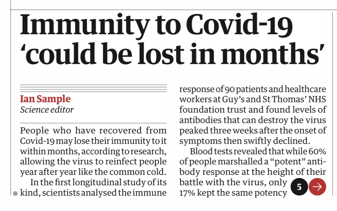 GUARDIAN FRONT PAGE : Immunity to Covid 19 could be lost in months #TomorrowsPapersToday https://t.co/BrkVu4onRd
