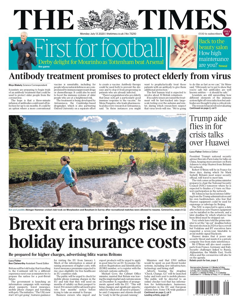 TIMES: Brexit era brings rise in holiday insurance costs #TomorrowsPapersToday https://t.co/5P1UhtgVSh
