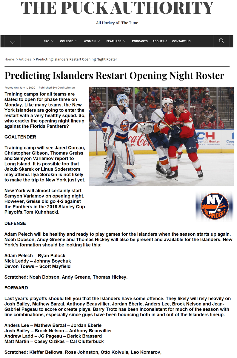 "NHL restart training camps start tomorrow Monday, July 13, 2020 in their home cities. Here's the N.Y. Islanders roster as predicted by Cord Lehman on ""The Puck Authority"" website. #NHLrestart @PuckAuthority1 @NYIslanders<br>http://pic.twitter.com/OFEl0xVcuW"