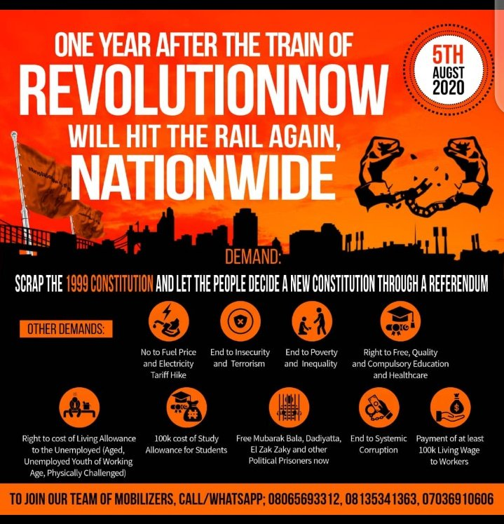 Join the #RevolutionNow at our next protests #DageofRage #August5protests and our Demands are very clear, The Nigerian Masses should not Keep quite. Come Out One Come Out All.  Sowore Channels TV #lockdown #RejectNigeria #wecantbreathe #instablog #sundayvibes #TakeResponsibility https://t.co/g6PXTFnTM2