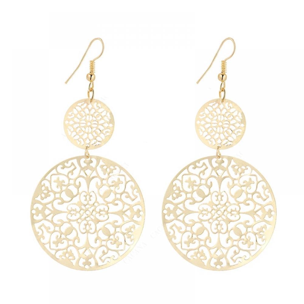 Women's Round Bohemian DangleEarrings #jewellery #gold