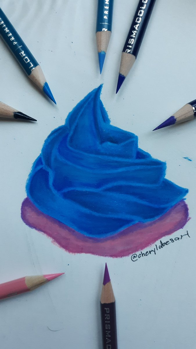 Icing on a cupcake I drew. I had a lot of fun drawing the icing.  #NobodyArtistClub #art #drawing #traditional #traditional_art #cupcake #icing #artist #coloredpencil #coloredpencils #blue #pink #prismacolor #prismacolorpencils