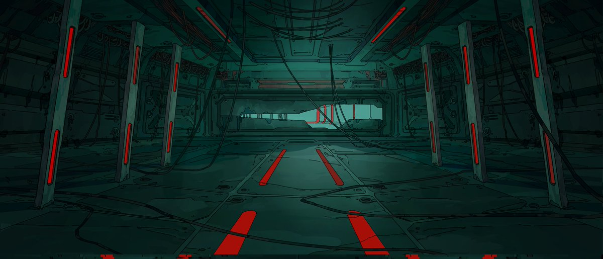The colony outreach station, green and red theme.  Lost, but still working, deep in the machinery.  #ArtistOnTwitter #NobodyArtistClub #conceptart #animationpic.twitter.com/VK3q4bmxmj