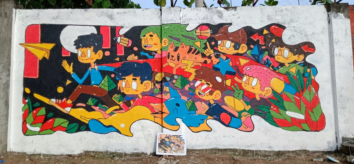 WE DID A DOODLE ON THEIR WALL FOR 2 DAYS!!! 。。。this is actually my first time to lead  this large mural!! Thanks to DOH-CSTRC for giving us chance to compete and display are skills  keep safe everyone! ! #artph #mural  (Some of the progress )pic.twitter.com/dUeY8Z2ME1