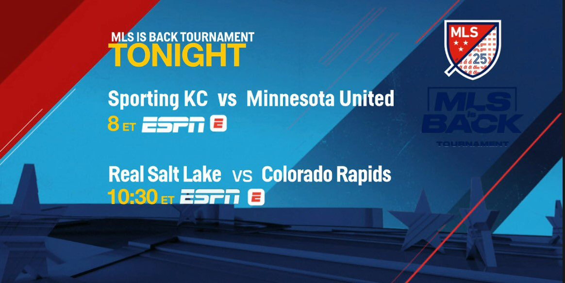 We have an #MLSisBack doubleheader tonight on ESPN & ESPN Deportes. 8p ET: #SportingKCvs #MNUFC 🎙 @JonChampionJC & @TaylorTwellman 1030p: #RSL vs #Rapids96 🎙 @AdrianHealey & @AleMorenoESPN Reporter @FusaroESPN will cover both matches.