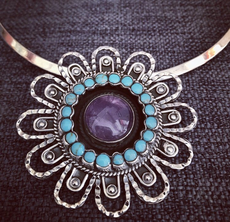 Vintage design jewelry from Taxco available at  . #sergiosilvercoz #vintage #jewelry #silver #sterling #amethyst #turquoise #pendant #shop #online #eshop #cozumel #family #top #rated #business