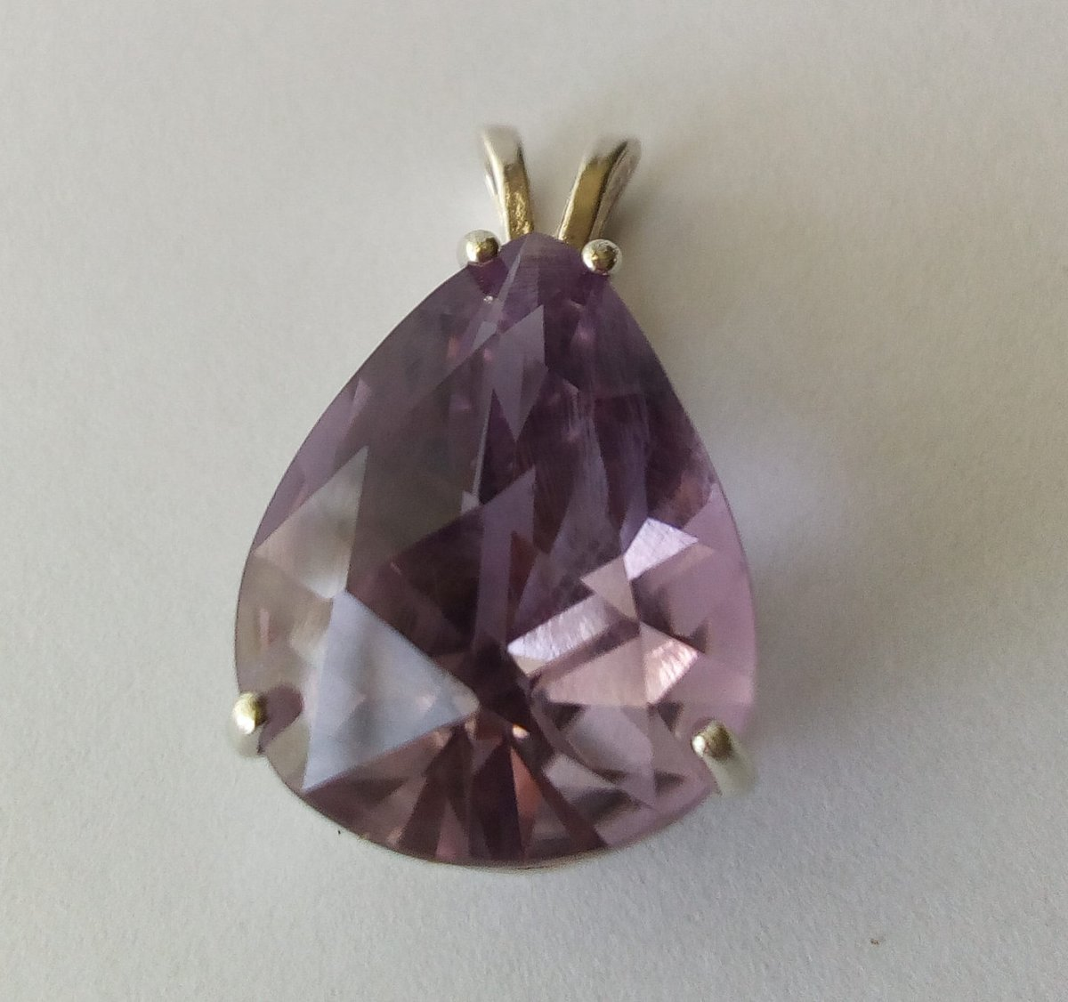Excited to share the latest addition to my #etsy shop: large 17 carat natural amethyst pendant purple rose checkerboard cut pear shape teardrop unheated amethyst sterling silver jewelry gift  #purple #large #teardrop #pendant #silver #amethyst