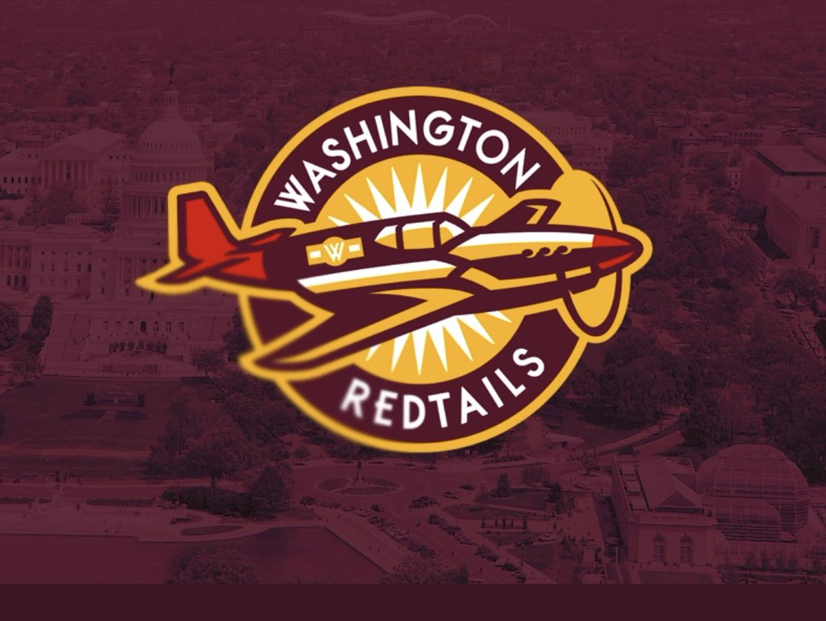 I would love to see the Washington Redskins do a total 180 and become the Washington Redtails, the nickname of the first Black military aviators who flew 15,000+ missions during WW II. Logos by @mbingcrosby + @cdauphin. https://t.co/rEZNQ1Cvba