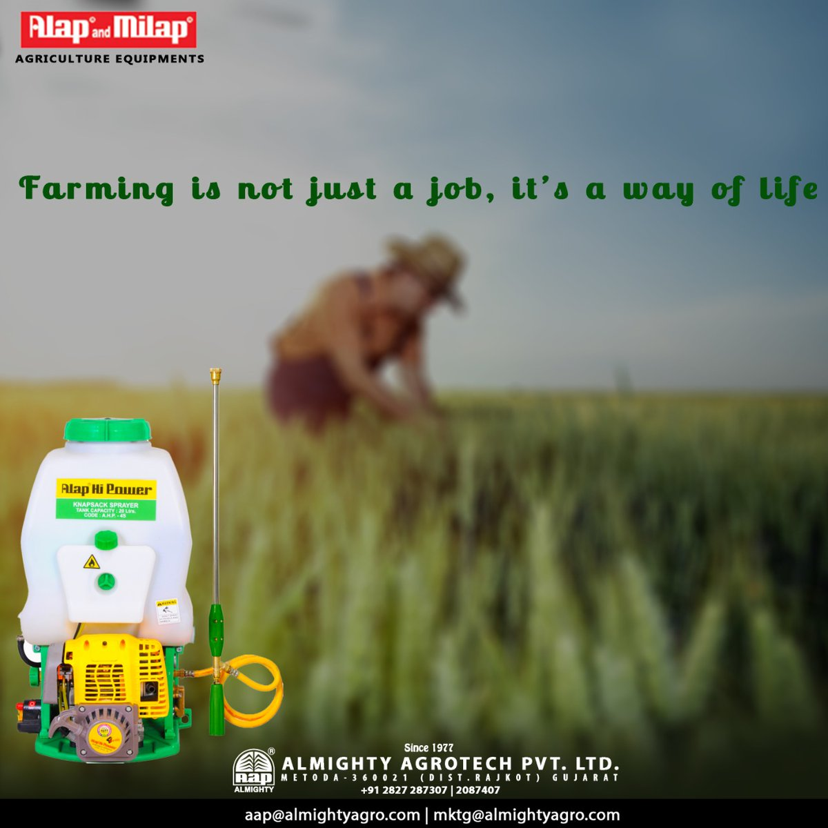 Farming is not just a job, it's a way of life . . #Sprayer #Agriculture #Sprayers #Spraying #Agricultural #Agro #Farming #Farmlife #Tractor #Agri #Horticulture #Landscape #Follow #Batteryoperatedknapsacksprayer #stayhome #stayhealthy #staysafe #LocalToVocal #WeWinTogetherpic.twitter.com/hSMgbcdTki