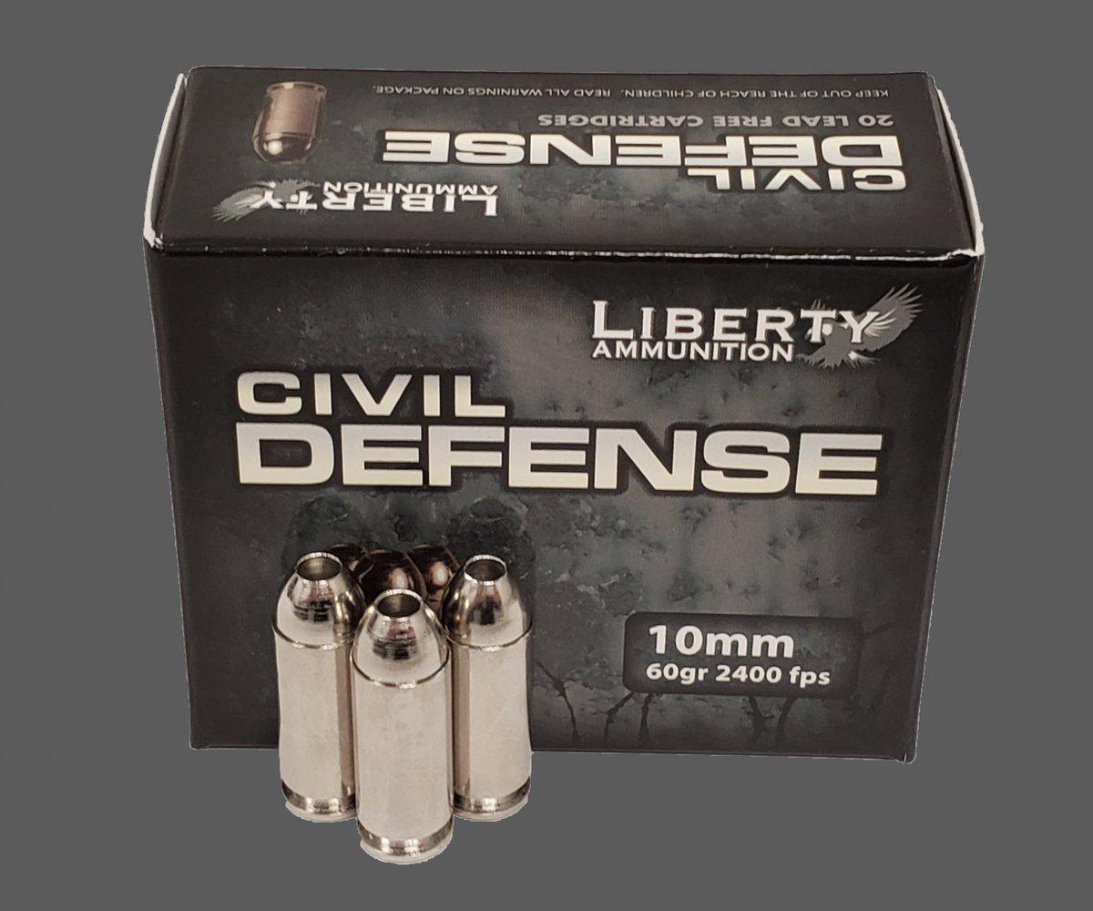 Civil Defense 10MM  Weight: 60 Gr Velocity: 2,400 FPS Kinetic Energy: 780 FPE  https://t.co/bVUuDU3Al5  #LibertyAmmo #CivilDefense #OneAndDone #EDC #GotAmmo #10mm #DefensiveAmmo #AZWS https://t.co/ZoctNj3Lyt
