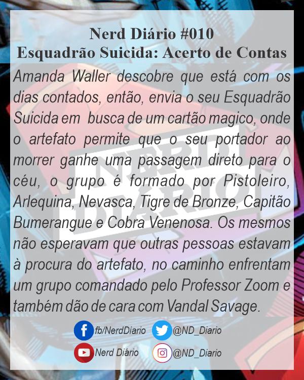 Nerd Diário # 010 - Esquadrão Suicida: Acerto de Contas.🏹⚡️ . . . #dccomics #DCUNIVERSE #Arrowverse https://t.co/ZVgCMBuYLu