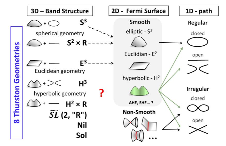 Fermi Surface Geometryペレルマン達が開発した現代幾何数学による多様体分類の発想を利用して、フェルミ面と輸送現象の関係を探る、時代の最先端すぎる、、、