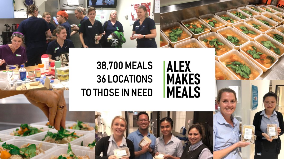 With the situation in Victoria, #AlexMakesMeals is dedicated to helping our #frontlineworkers.   We are thankful for the generosity of this amazing community! Together we can help thousands of people every week! ❤️  https://t.co/k8idUzxUwa  #FrontlineHeroes #Thankyou #COVID19au https://t.co/9Hze8AUmL7