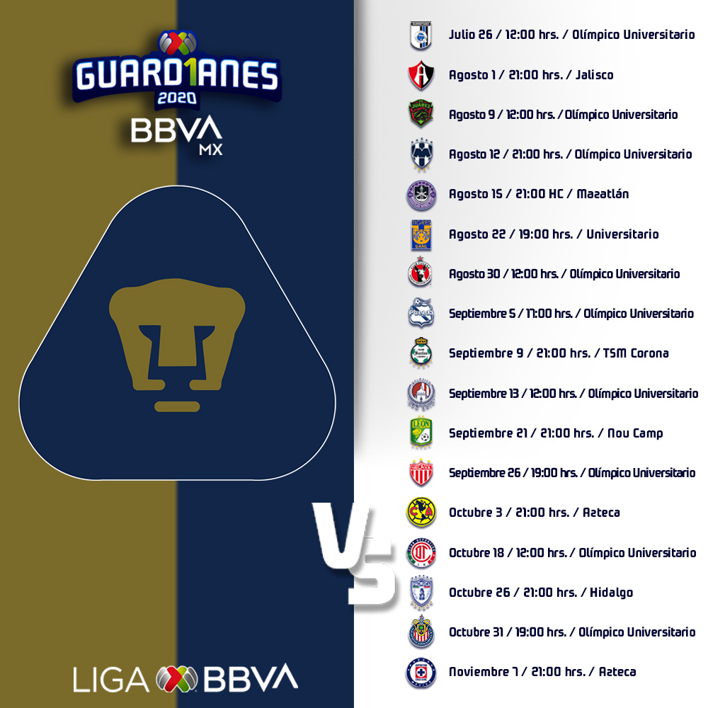 ¡Este es nuestro calendario para el torneo #Guard1anes2020! ⚽️🗓️  #SoyDePumas #Volveremos https://t.co/qznmzH4tNQ