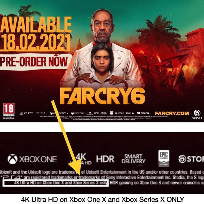 So the ps5 cannot do 4k on farcry 6, I'm curious is it because of ray tracing? It would make sense since a 1080p version of the game that had rt would look better then 4k without rt (in my opinion)   Xbox one x can also do 4k UHD, the ps5 be slacking  #poweryourdreams https://t.co/wpS6cNDMPn