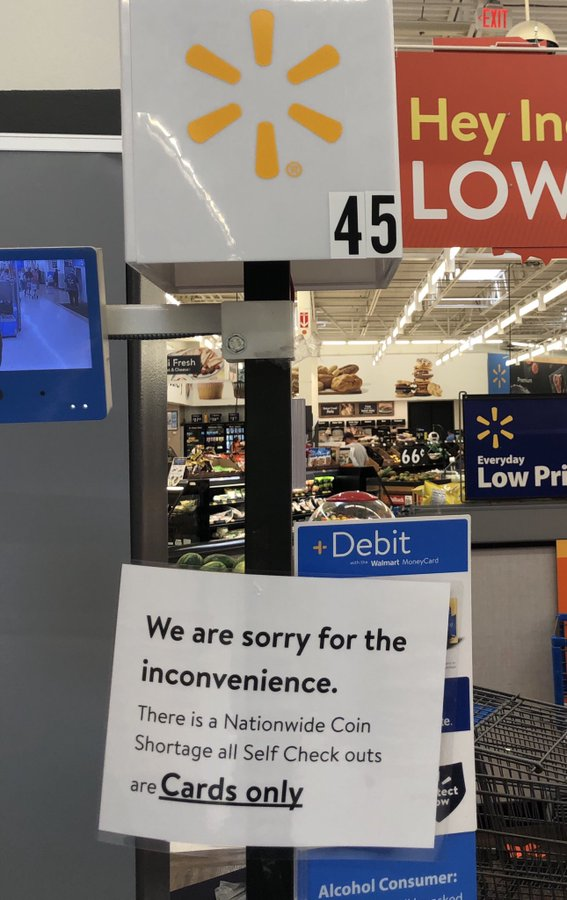 Coin Shortage Strikes Walmart, Customers Required To Pay With Card At Self-Checkout EcxPRJaXoAAVYGa?format=jpg&name=900x900